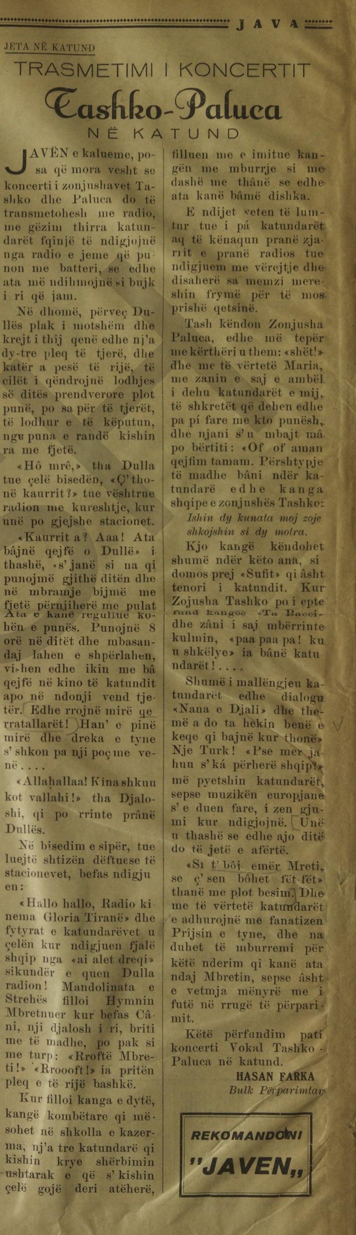 Hasan Farka gazeta Java 1938-39