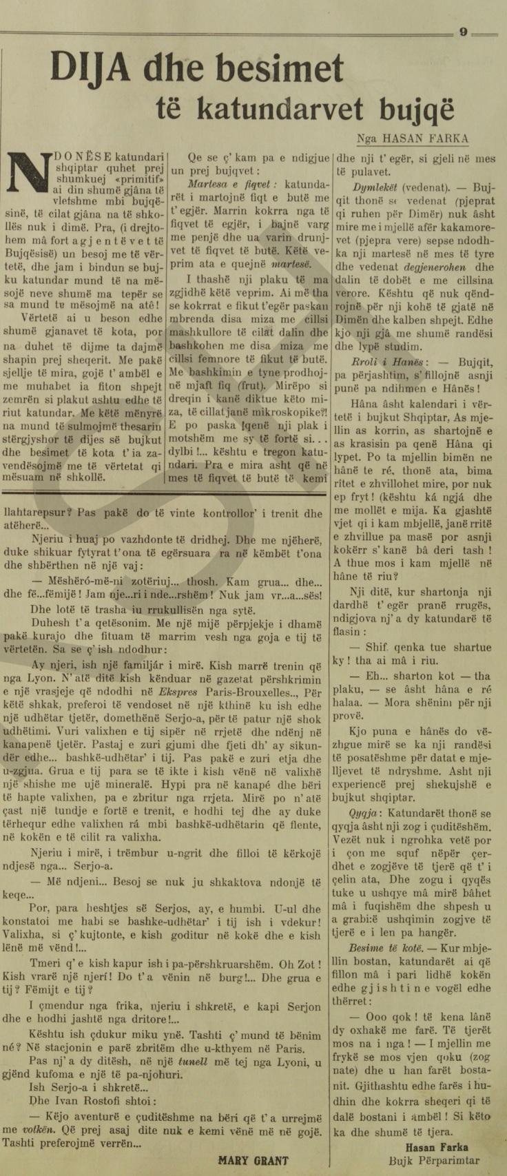 Java 1938-39 DIJA dhe besimet të katundarvet bujqë - Nga HASAN FARKA